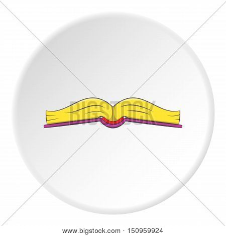 Book open in middle icon. Cartoon illustration of book open in middle vector icon for web