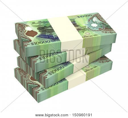 Brunei dollar bills isolated on white background. 3D illustration.