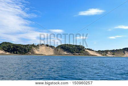 sand dunes and tree landscape of Lake Michigan coastline