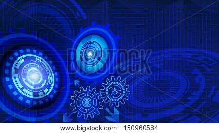 Abstract futuristic technology background with gears in blue shades. Digital technology and engineering concept design