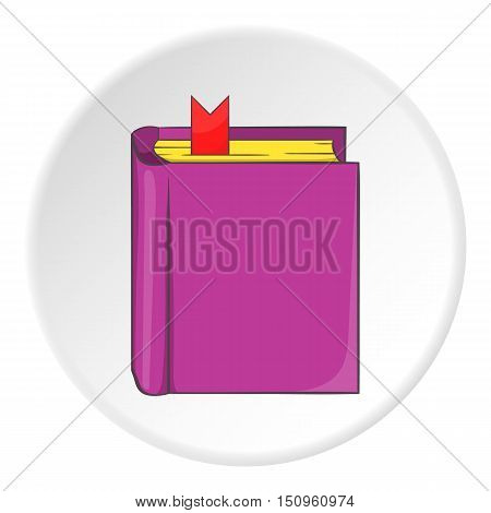 Thick book with bookmark icon. Cartoon illustration of thick book with bookmark vector icon for web