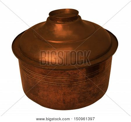 copper pan with the lid closed isolated with white background