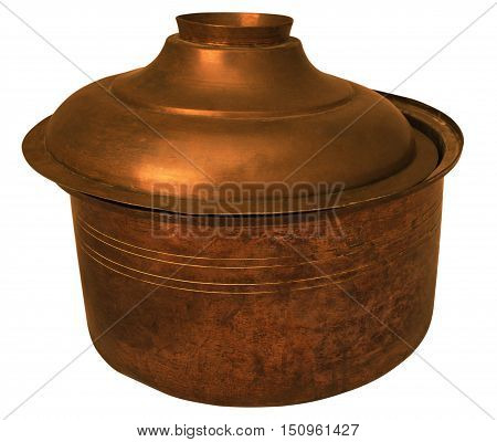 old copper pan isolated with white background