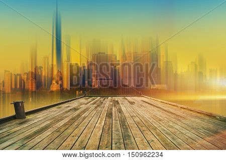 Deck to the Future. Wooden Deck and the Large City Skyline Abstract Concept.