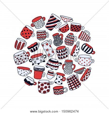 Cute naive cups circle background. Kids style drawing. Light blue red white and dark blue.