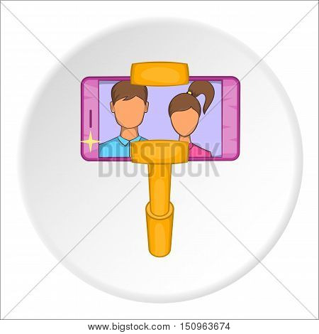 Selfie stick with mobile phone icon. Cartoon illustration of selfie stick with mobile phone vector icon for web