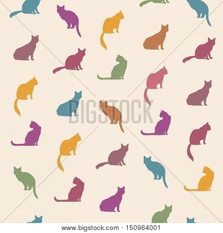Cat Seamless Pattern. Pets Vector Background.