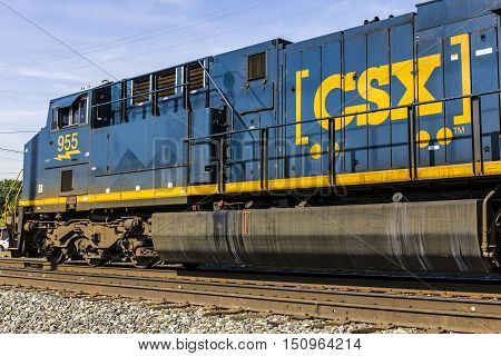 Indianapolis - Circa October 2016: CSX Locomotive Train. CSX operates a Class I railroad in the US I