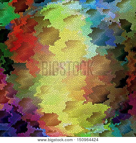 Abstract coloring background of the horizon gradient with visual lighting,cubism,mosaic,wave,spherize and stained glass effects.Good for your project design