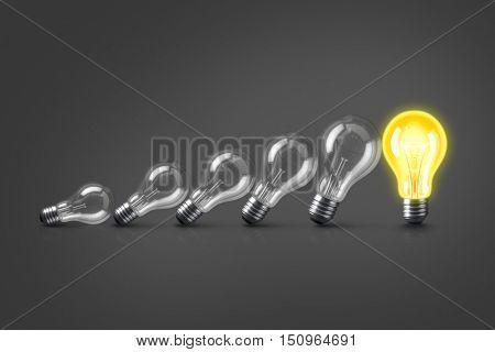 Group of lamp bulbs on black background. 3D illustration