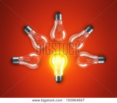 Group of lamp bulbs on red background. 3D illustration