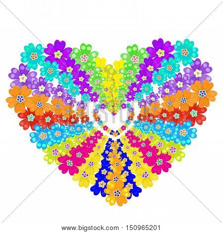 Background Spring Primroses Primula Flowers Heart. Vector Illustration