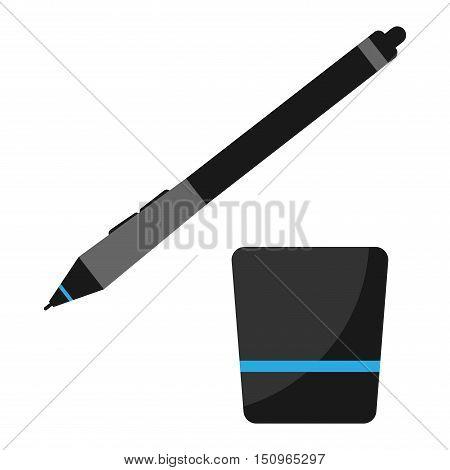 Graphics tablet stilus pen vector illustration. Graphics tablet pen sensor isolated on white background. Designer graphics tablet vector icon illustration.