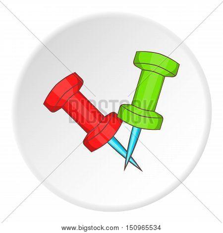 Pushpin icon. Cartoon illustration of pushpin vector icon for web