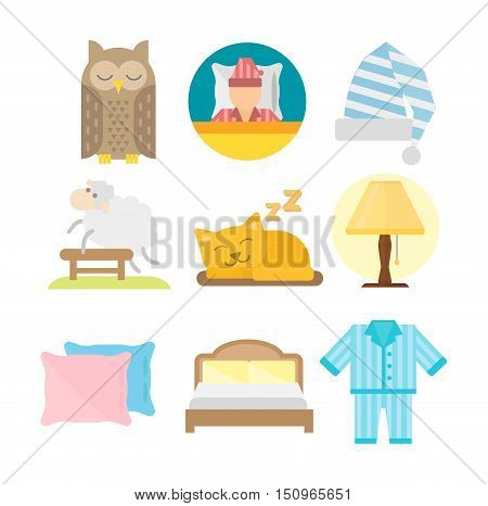 Sleep time icons flat set with window milk and cookies isolated vector illustration. Sleep icons moon set pillow clock dream healthy lifestyle. Bedroom rest star human collection sleep icons.