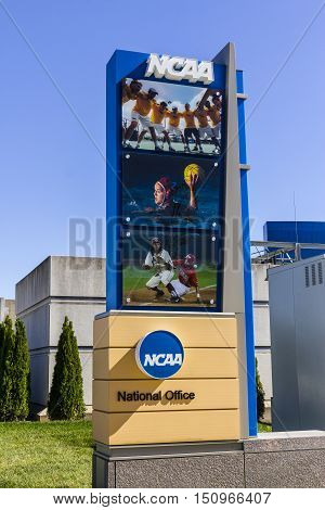Indianapolis - Circa October 2016: National Collegiate Athletic Association Headquarters. The NCAA regulates athletic programs of many colleges and universities I