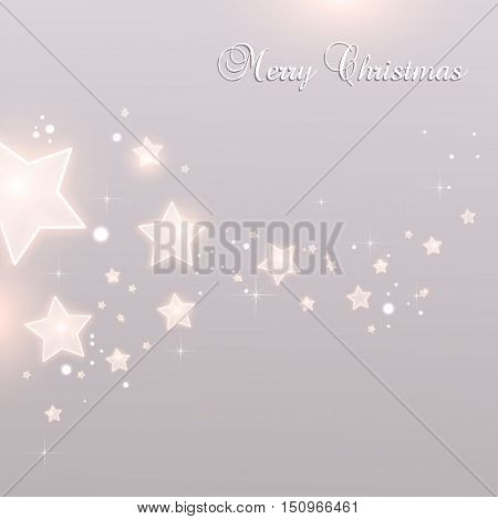 Shiny Xmas stars for Merry Christmas celebration on grey background with light dots stars. Vector eps illustration