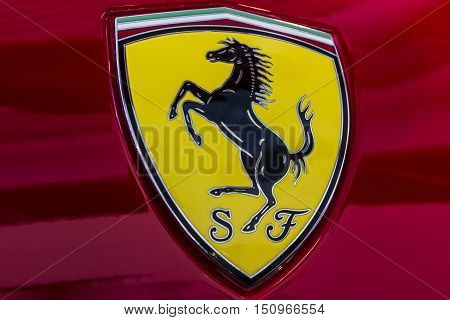 Indianapolis - Circa October 2016: Ferrari Logo on a 458 Spider. Ferrari is an Italian sports car manufacturer I
