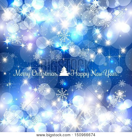 Blue Merry Christmas background with silver snowflakes light stars. Vector Illustration. Xmas card