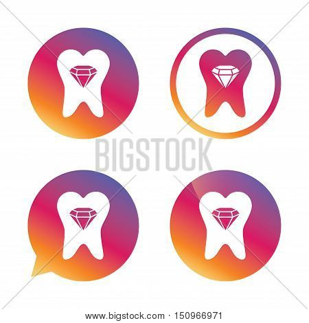 Tooth crystal icon. Tooth jewellery sign. Dental prestige symbol. Gradient buttons with flat icon. Speech bubble sign. Vector
