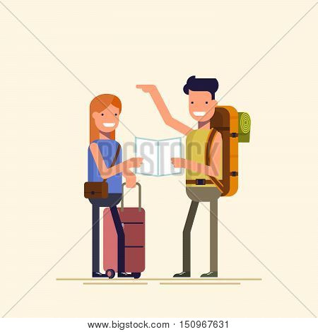 Two travelers are choosing a route map. A guy and a girl can not decide where to spend a holiday or weekend. Difficult choice. The family during the holidays. Vector illustration in a flat style