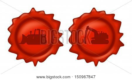 illustration of red wax stamp with construction vehicles on it on white background