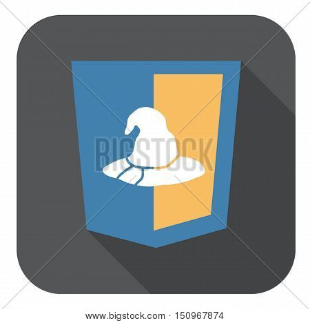 vector web development shield sign html5 hat symbol isolated icon on grey badge with long shadow