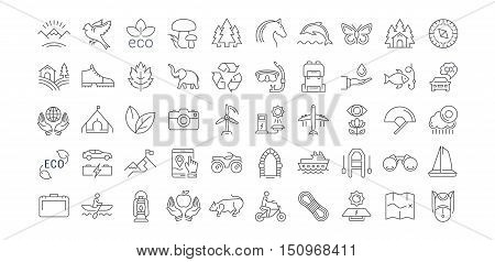 Set vector line icons in flat design ecotourism and recycle with elements for mobile concepts and web apps. Collection modern infographic logo and pictogram.