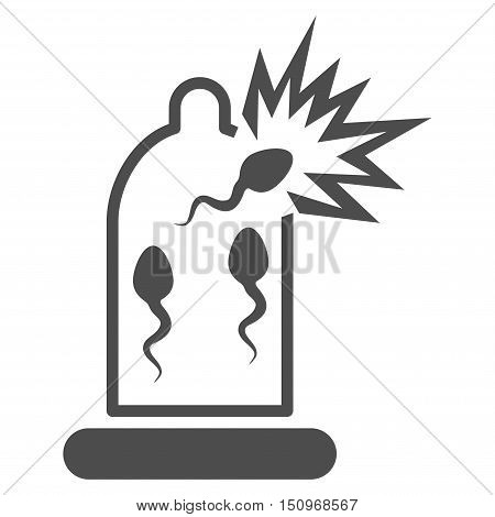 Damaged Condom With Sperm vector icon. Style is flat symbol, gray color, rounded angles, white background.