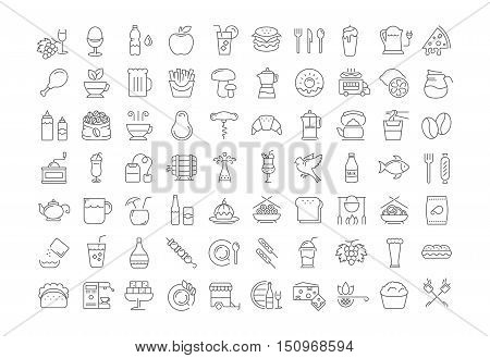 Set vector line icons drinks meal and fast food in flat design with elements for mobile concepts and web. Collection modern infographic logo and pictogram.