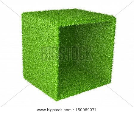 Big box inverted on the side covered a green grass. 3d image isolated on a white background.