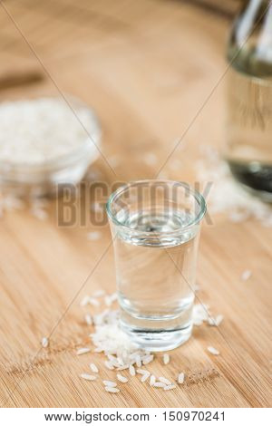 Sake (on Wooden Background)