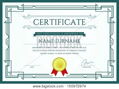 Vector Certificate Or Diploma Template Ready For Print Or Use It On The Internet