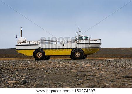 Photo of an amphibian vehicle on rough terrain