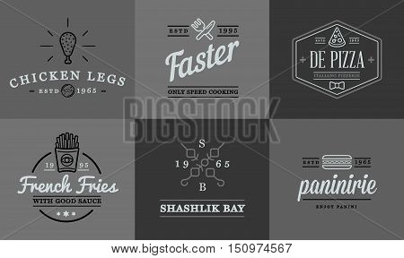 Set Of Vector Fastfood Fast Food Elements Icons And Equipment As Illustration Can Be Used As Logo Or