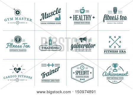Set Of Vector Fitness Aerobics Gym Elements And Fitness Icons Illustration Can Be Used As Logo Or Ic