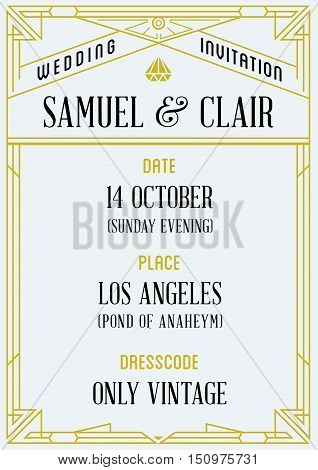 Gatsby Style Invitation In Art Deco Or Nouveau Epoch 1920's Gangster Era Vector