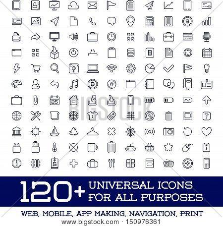 120 Universal Icons Set For All Purposes Web, Mobile, App Making, Navigation, Print
