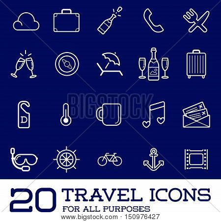 Travel Icons Vector Set, Great For All Purposes Like Print Web Or Mobile Apps