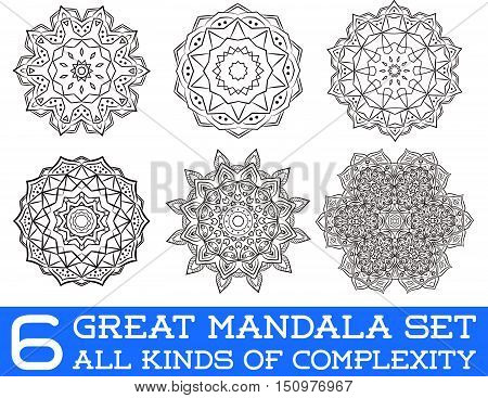 Set Of Ethnic Fractal Mandala Vector Meditation Tattoo Looks Like Snowflake Or Maya Aztec Pattern Or