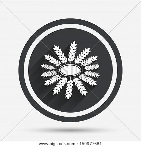 Agricultural sign icon. Wreath of Wheat corn. Gluten free or No gluten symbol. Circle flat button with shadow and border. Vector