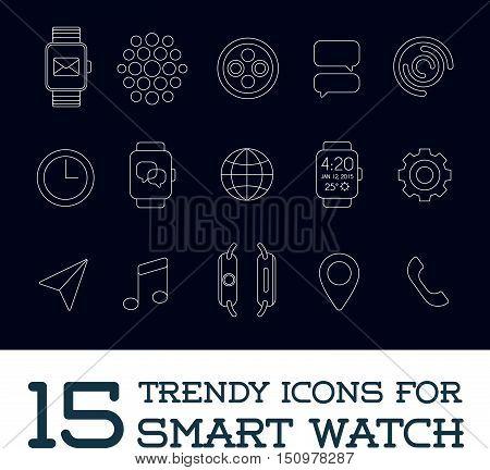 15 Fresh Smart Watch Trendy Icons eps 10