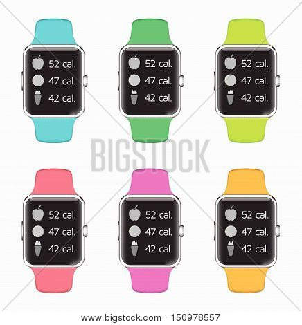 Trendy Colorful Vector Illustration Icons Set Of Smart Watch With Smart Interface