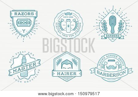 Retro Design Logotype Set. Diy Handmade Craft Art Illustration Vintage Vector In Sailor Circus Freak