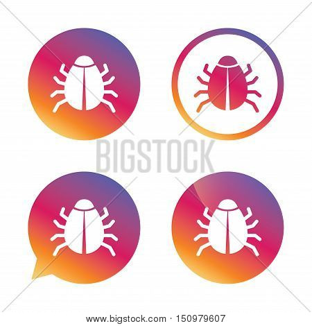 Bug sign icon. Virus symbol. Software bug error. Disinfection. Gradient buttons with flat icon. Speech bubble sign. Vector