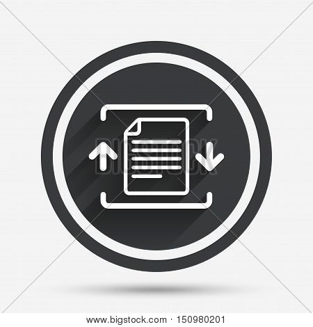 Archive file sign icon. Compressed zipped file symbol. Arrows. Circle flat button with shadow and border. Vector