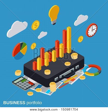Business portfolio, financial statistics, analysis, management flat isometric vector concept illustration