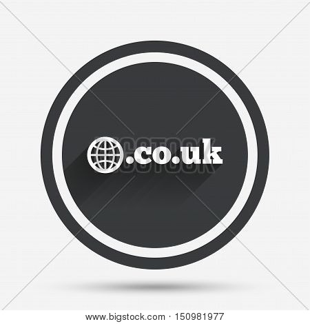 Domain CO.UK sign icon. UK internet subdomain symbol with globe. Circle flat button with shadow and border. Vector