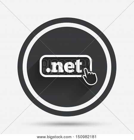 Domain NET sign icon. Top-level internet domain symbol with hand pointer. Circle flat button with shadow and border. Vector