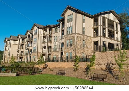 New apartment complex building in suburban area